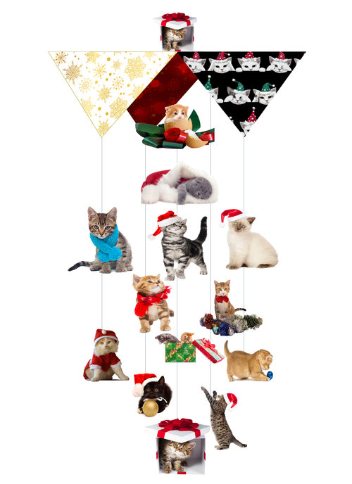 Christmas Cat Mess Theia Chandelier Card™ opened card