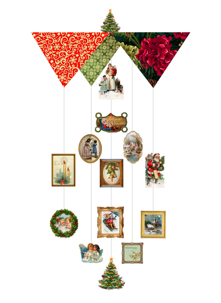 Victorian Christmas Theia Chandelier Card™ opened card