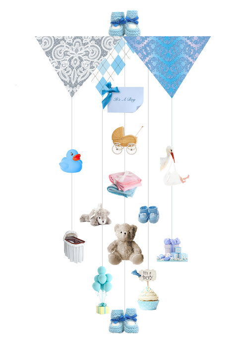 It's A Boy Theia Chandelier Card™ opened card