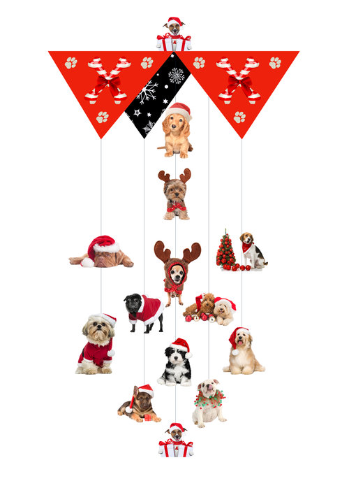 Dog Christmas Theia Chandelier Card™ opened card