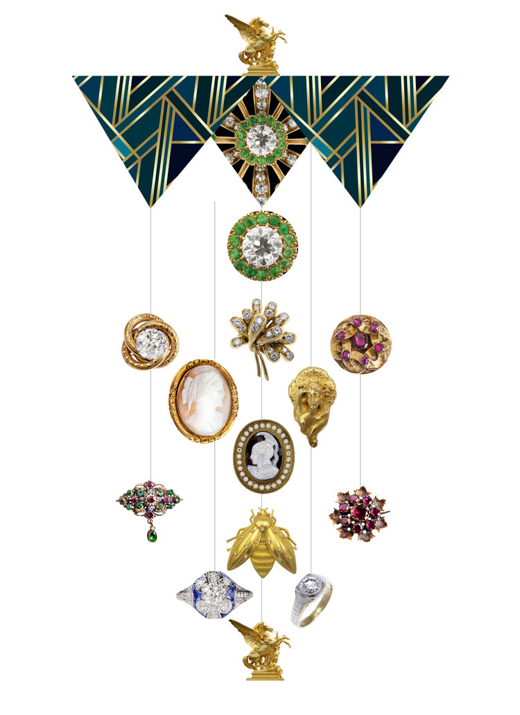 Vintage Jewel Theia Chandelier Card™ opened card