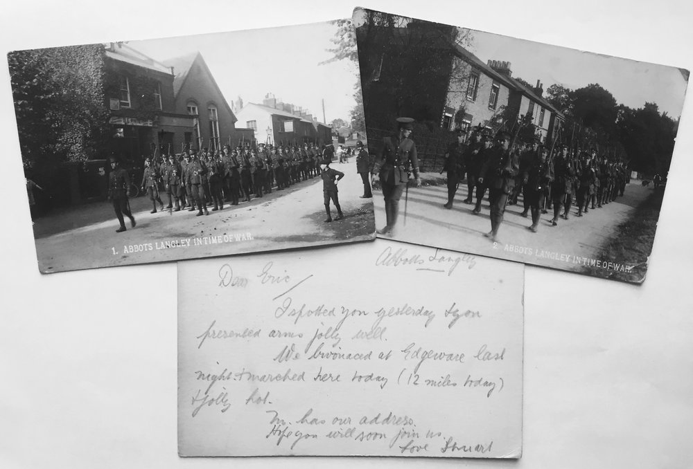 Postcards, one addressed to Eva and the other Kathleen, from Eric in the summer of 1914 and a message Stuart sent to Eric during the same summer.