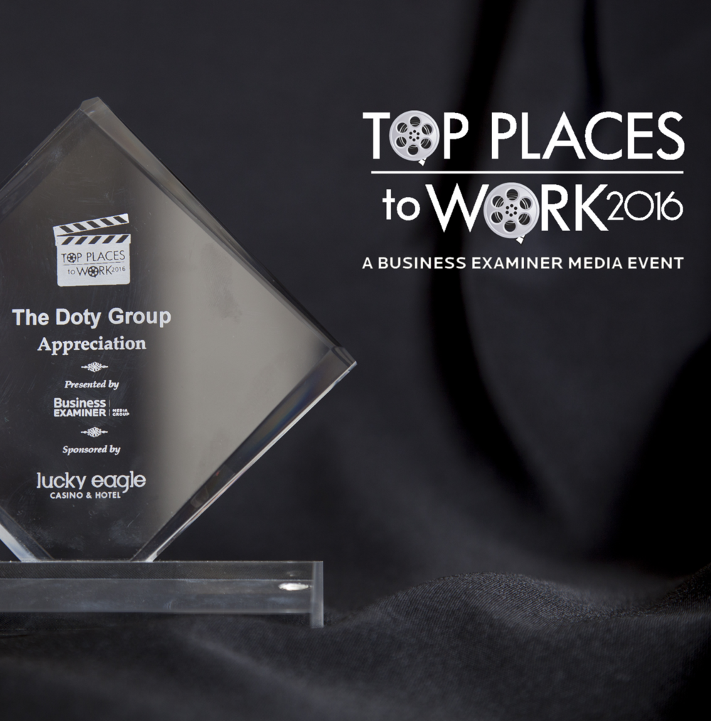 The Doty Group Wins A 'Top Places to Work' Award For the 2nd Time! - The Doty Group was recognized by South Sound Biz for their 2nd 'Top Places to Work' award in the Appreciation category.