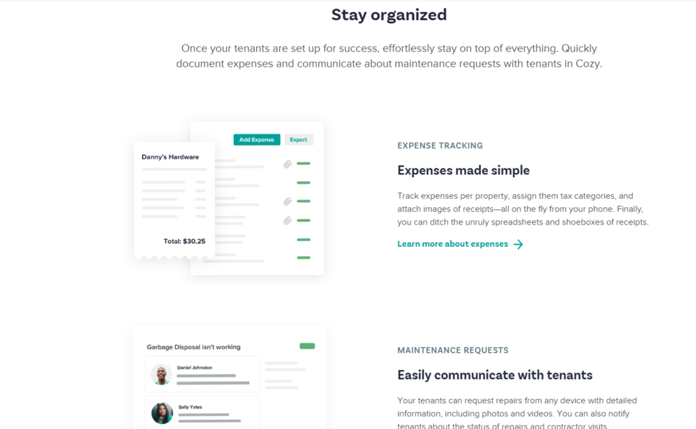 Cozy - Cozy offers a multitude of resources for various stages of property management, from marketing, to customer service, but also organization tools to help track receipts and expenses.