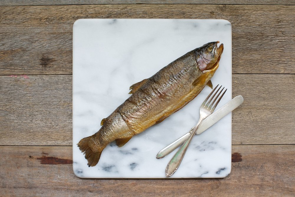 Smoked Whole Trout - Rainbow trout smoked to perfection, this trout is gorgeous in its presentation. Flaky, delicate and elegant.