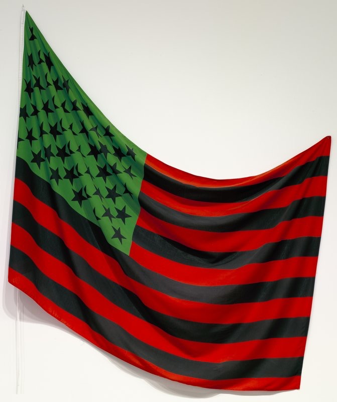 David Hammons,  African-American Flag . 1990. dyed cotton, edition of 5