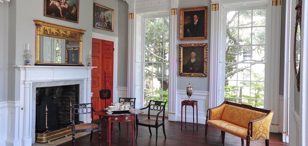 Withdrawing Room of Nathaniel Russell House with portrait of Jonathan Lucas by John Wesley Jarvis (top) and portrait of Susannah B. Smiley by Samuel Morse (Bottom)