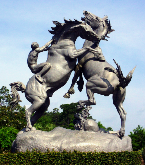 Fighting Stallions , aluminum. 1950