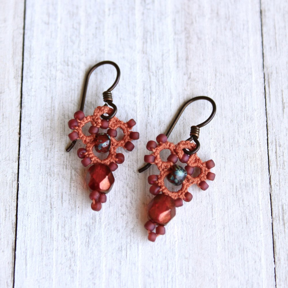 Tatted Lace Drop Earrings -