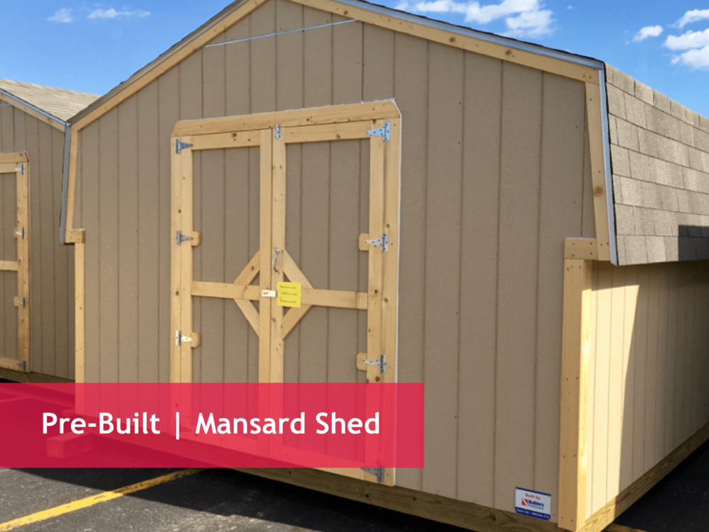 "Dimension Options   8x8 | 8x10 | 8x12 | 8x16 | 12x12 | 12x16 | 12x20     Shed Specs:    Floor : Treated 2x floor joists with 3/4"" T&G plywood/OSB floor   Framing : 2x4 walls   Walls : 6' sidewall   Shingles : 3-tab shingles over 15# felt   Siding : Primed SmartSide panel siding   Door : 4'x 6' openings on 8' wide sheds  5' x 6' openings on 12' wide sheds"