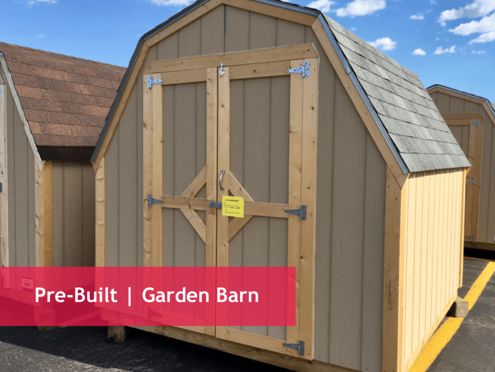 "Dimension Options   8x8 | 8x10 | 8x12 | 8x16 | 12x12 | 12x16 | 12x20     Shed Specs:    Floor : Treated 2x floor joists with 3/4"" T&G plywood/OSB floor   Framing : 2x4 walls   Walls : 4' sidewall   Shingles : 3-tab shingles over 15# felt   Siding : Primed SmartSide panel siding   Door : 4'x 6' openings on 8' wide sheds  5' x 6' openings on 12' wide sheds"