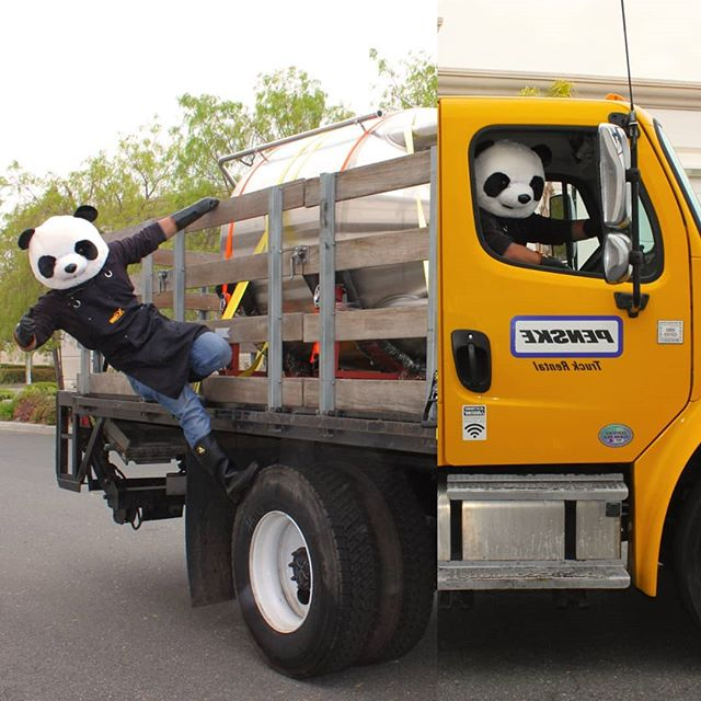The Panda is back at it again. He's on a mission to transport a fermenter to make some glorious beer.  #panda #transportation #trucking #penske #flatbed #stainlesssteel #fermenter #unitank #antics #candid #hangloose #splice