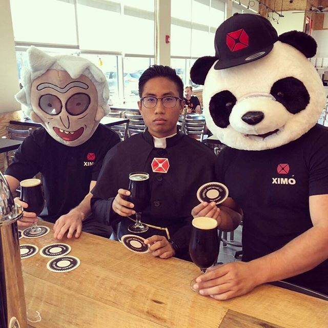 First stop for the trick-or-treat adventures at Garage Brewing this Halloween. The Marshmallow and Chocolate Orange Stouts are to die for! You're never to old for Halloween.  #beerequipment #brewing #beer #halloweencostume #panda #rickandmorty #church #priest #brewski #cerveza #brewery #garagebrewing #garagebrewingco #beers #ontap #variety #trickortreat #halloween