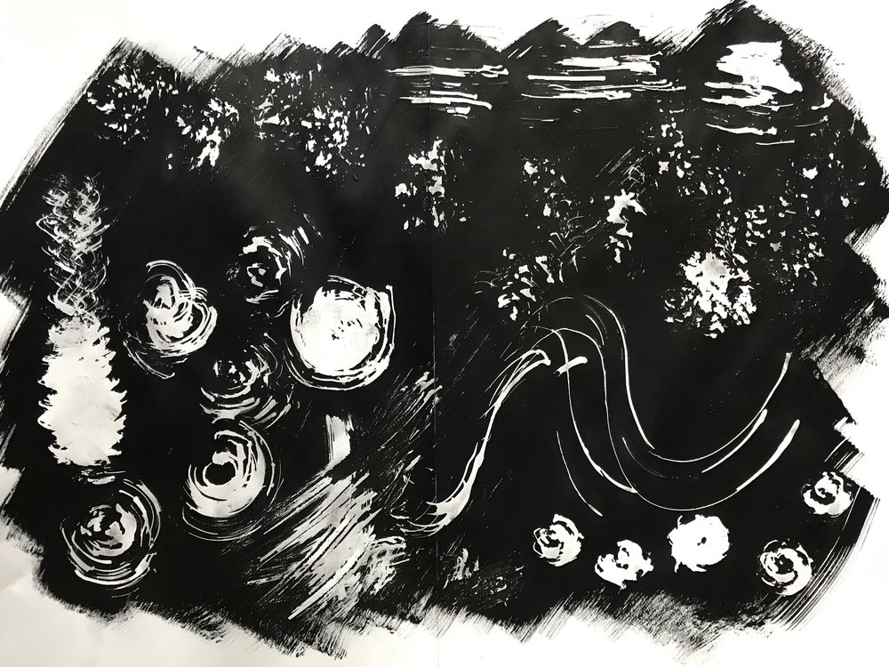 Negative marks - masking fluid, black ink, achillea seed head