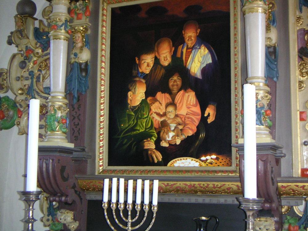 Altertavlen i Maglebrænde Kirke, malet af Lars Physant. Altertavlen er nu flyttet til et andet sted i kirkerummet