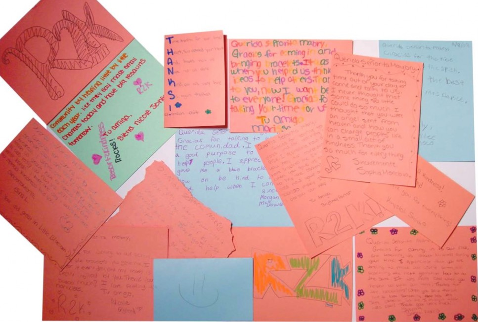 Thank you notes from students at Sky Vista Middle School