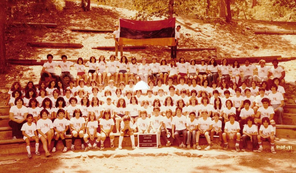 The first group at AYF Camp Big Pines in 1978