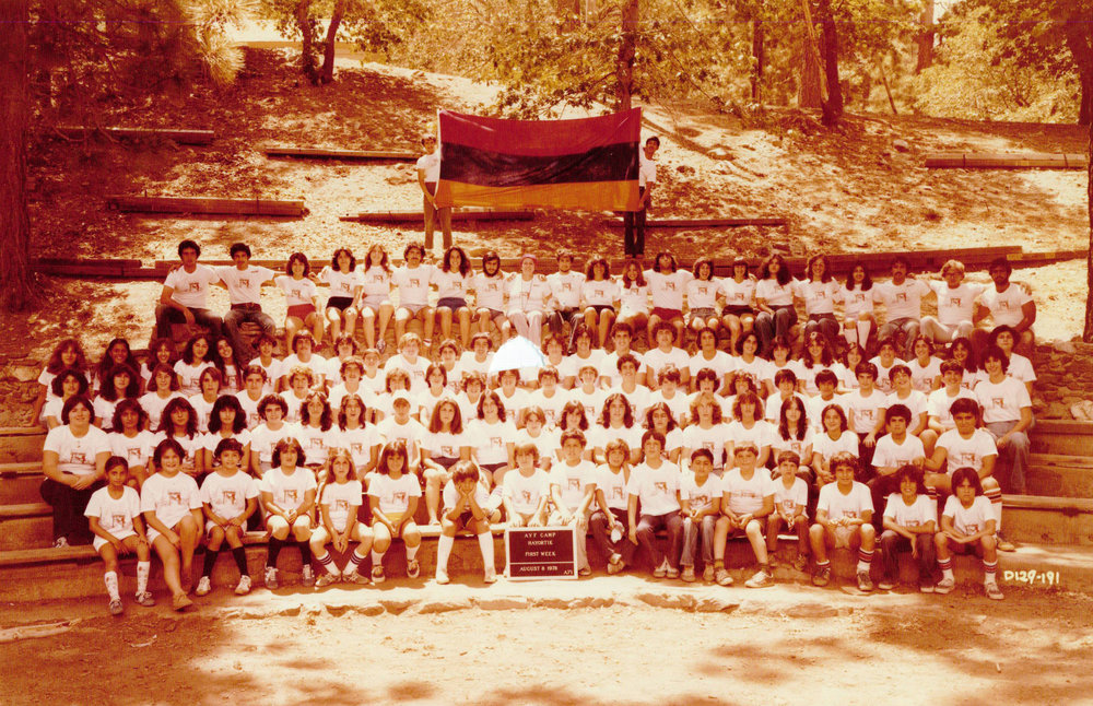 The first group of campers at Camp Big Pines in 1978
