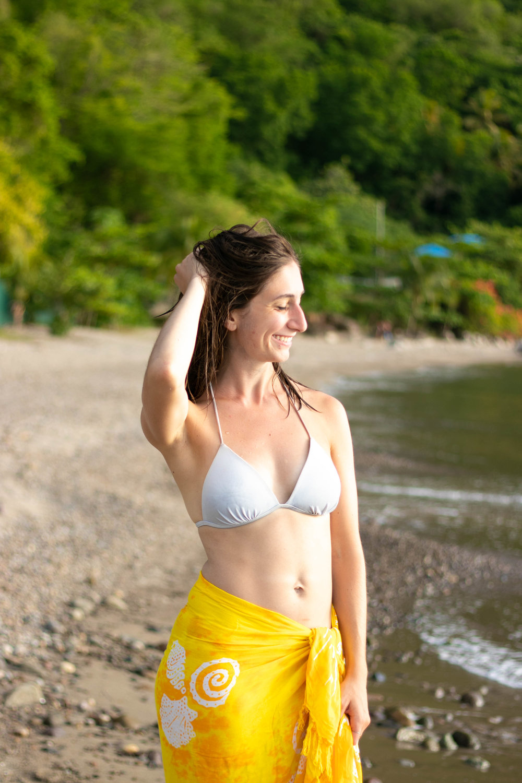 Portrait of women in Malgretoute Beach in St. Lucia by Vision Balm in Charleston, SC.