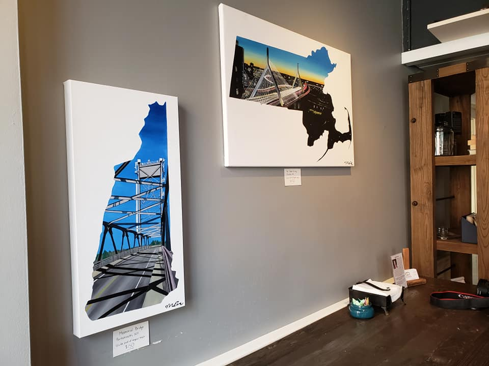 Massachusetts and New Hampshire Paintings displayed in Souffle's, Newburyport, MA by Vision Balm based in Charleston, SC.
