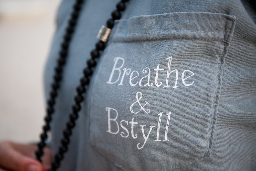 Professional product photography of Breathe & BStyll gray long sleeve shirt photographed by Diana Deaver in St. Lucia.