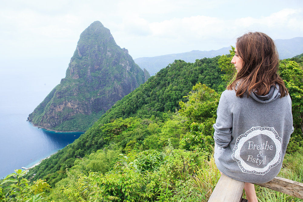 Professional portrait photography of Breathe & BStyll sweatshirt dress worn by Vision Balm in St. Lucia photographed by Diana Deaver.