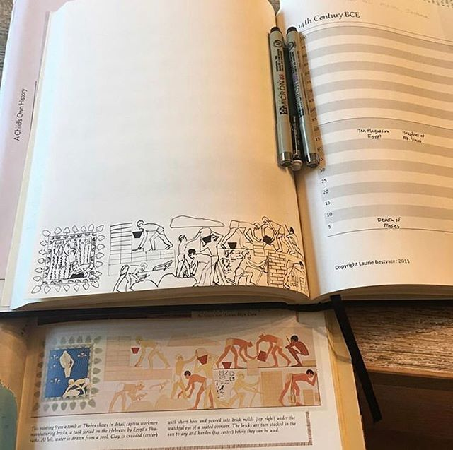 I always drool when I see beautiful drawings in moms' book of centuries (or other keeping books). @handfieldshalom, this is so wonderful!  Someone tell me this isn't too hard. I think this might be the year I jump in and start my own! @ecwetzel • • • #motherwellretreat #adeepermotherwell #bemotherwell #motherwellexcellence #charlottemason #charlottemasonhomeschool #charlottemasoneducation  #spreadingthefeast #motherculture