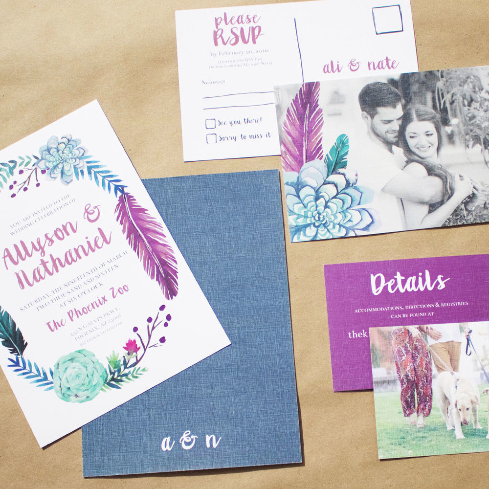 Wedding invitation suite designed by Design Squeeze