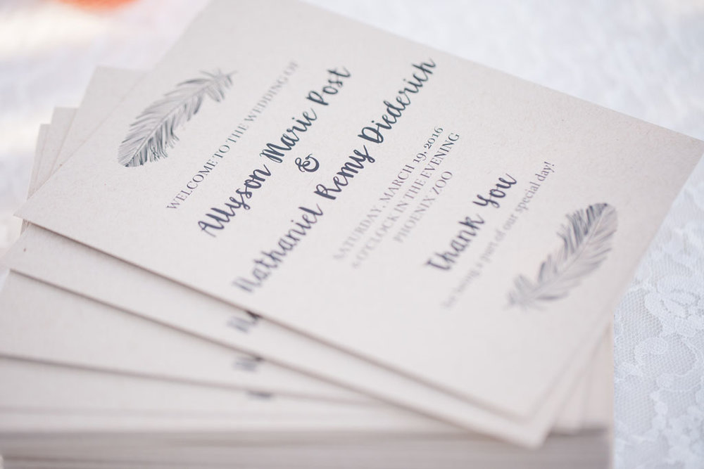 bohemian wedding program