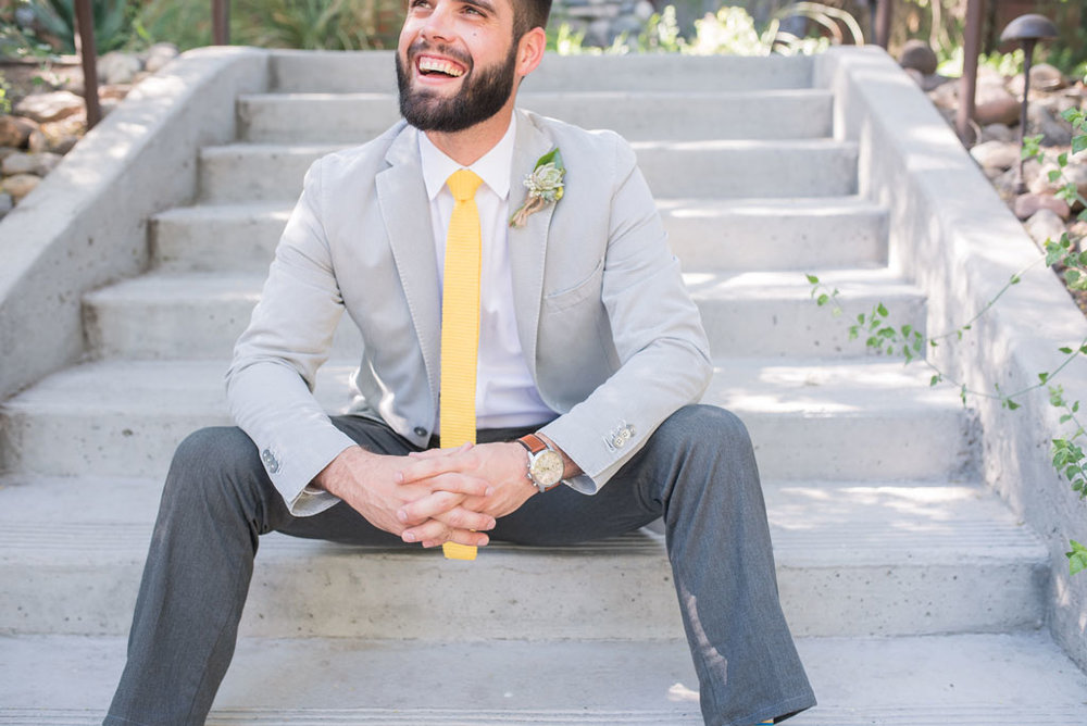 boho groom look with pops of yellow