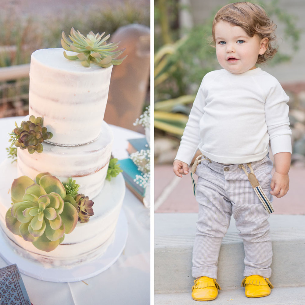 succulent wedding cake and boho baby