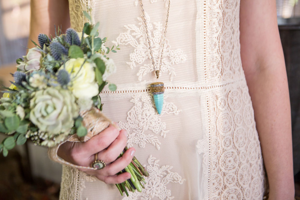 bohemian bridesmaid dress and accessories