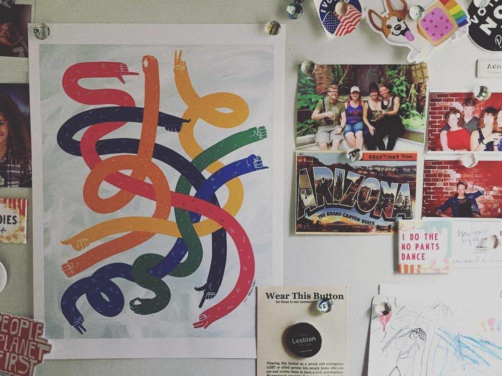 catrocketship :   👉🏻👈🏻👆🏻👇🏻✌🏻🤟🏻🤲🏻🤙🏻   New print for @oneiowa gala next week. #loveislove #iowa #lgbt #pride #hands #artistsoninstagram #illustration #asl #signlanguage #americansignlanguage #art #fridge