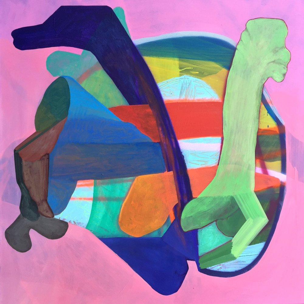 """Edgard Camacho Untitled (Tongue) 2016 Acrylic, oil and enamel on canvas,  36"""" x 36""""   Now on view at the University of Iowa Hospital. The show """"Rectified: a method to unveil the unseen""""will be on display until March 2017 through Project Art .Camacho's workwill be located in the Gallery II, level 8 Colloton Pavilion, Elevator F."""