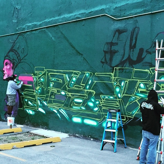 packyogainateacup :     Street art in the making down town Des Moines #streetart #desmoines #Iowa #travel