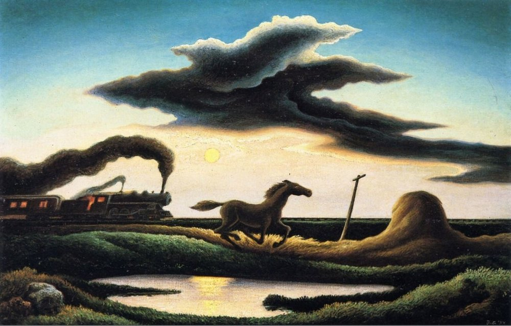 art-centric :      Thomas Hart Benton (American, 1889-1975),  Homeward Bound , 1944. Oil on canvas, 74.93 x 120.65cm.