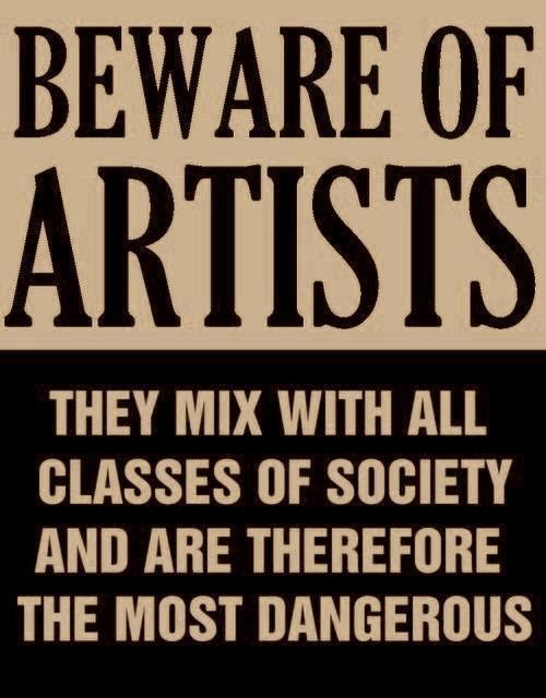 """momateens :     """"Beware of Artists"""" - Actual poster issued by Senator Joseph McCarthy in 1950s, at height of the red scare."""