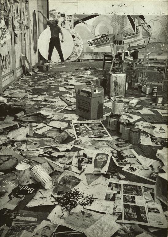 James Rosenquist, painting in his studio, 1967