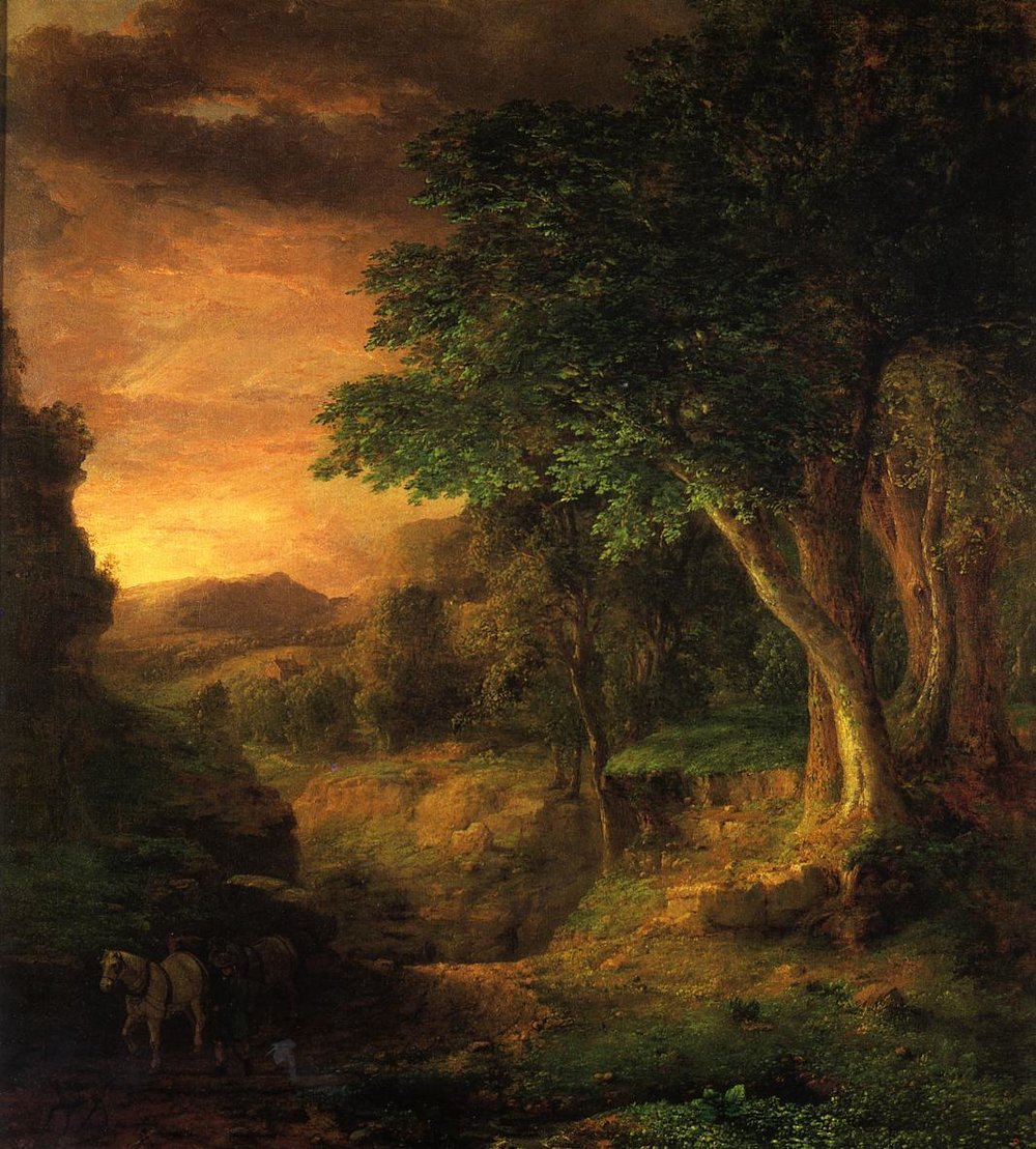 """the-paintrist :      artsandcrafts28 :     George Inness -  """"In the Berkshires""""  -1848-50      George Inness  (May 1, 1825 – August 3, 1894) was an influential American landscape painter. His work was influenced, in turn, by that of the old masters, the Hudson River school, the Barbizon school, and, finally, by the theology of Emanuel Swedenborg, whose spiritualism found vivid expression in the work of Inness' maturity. Often called """"the father of American landscape painting,"""" Inness is best known for these mature works that not only exemplified the Tonalist movement but also displayed an original and uniquely American style."""