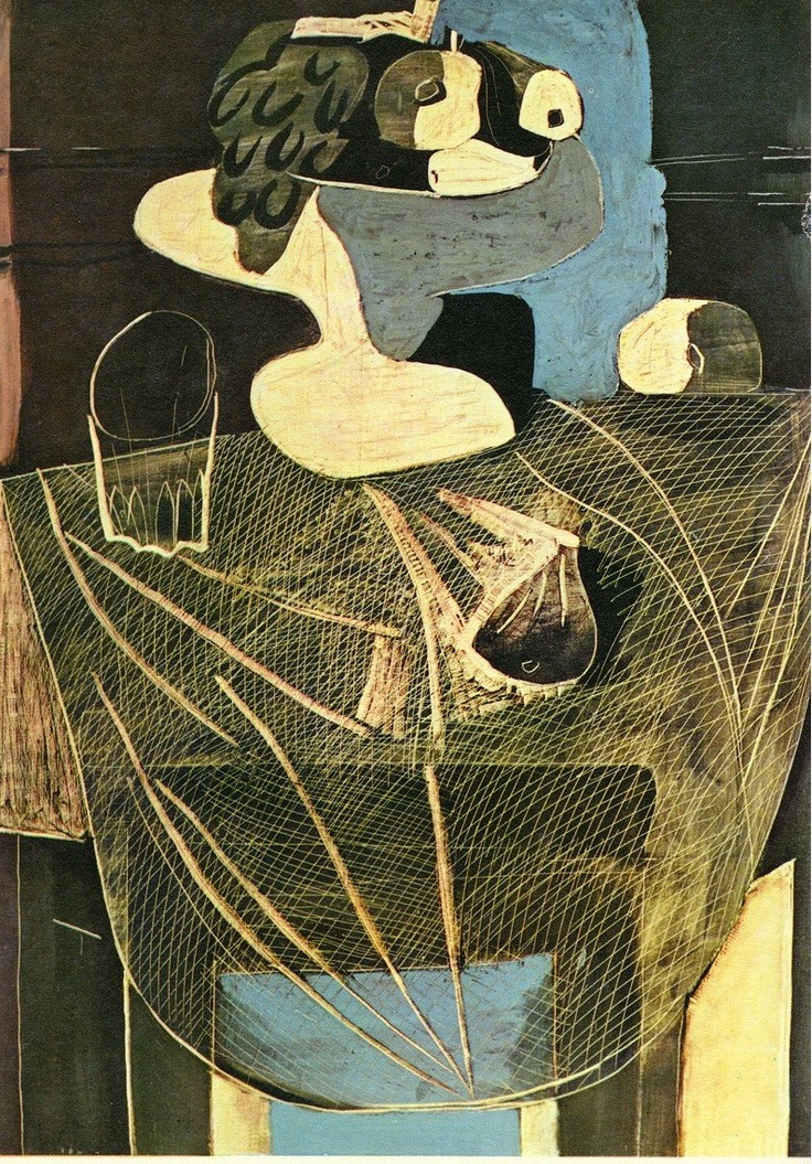 thegameofart :     Still life with fishing net - Pablo Picasso 1925