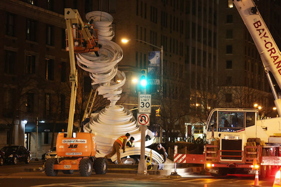 """Alice Aycock unveils a suite of seven enormous sculptures in aluminum and fiberglass. Called """"Park Avenue Paper Chase,"""" and stretching from 52nd Street to 66th in New York City, this public art project was inspired variously by tornadoes, dance movements and drapery folds, and will be in view until July 20, 2014.   Photo credit: Richard Perry, The New York Times (via  Public Art that Surprises and Fascinates   Greater Des Moines Public Art Foundation )"""