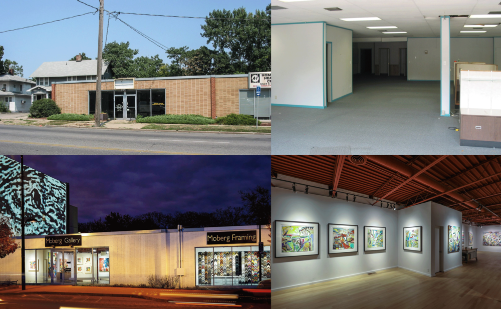 Moberg Gallery, before and after