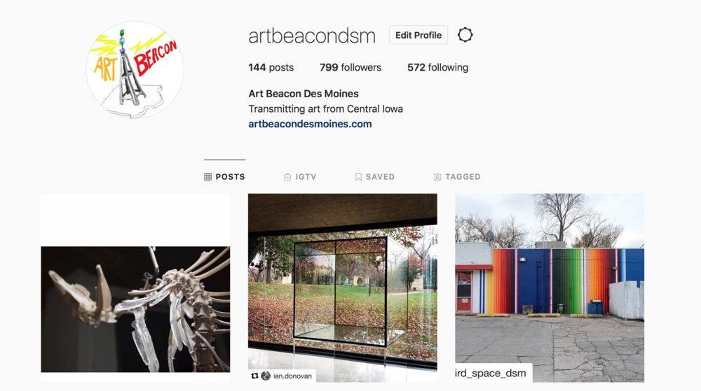 Follow us on Instagram  @artbeacondsm
