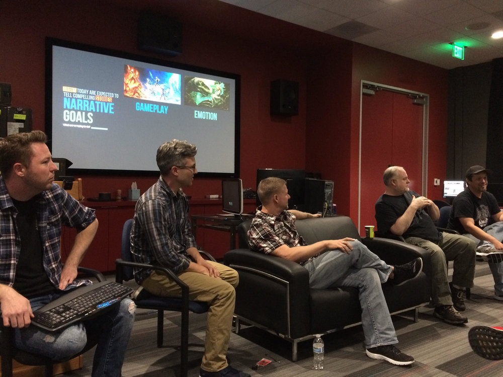 EverQuest Franchise Narrative Team giving a talk to Coleman College students on Narrative Design in MMOs.