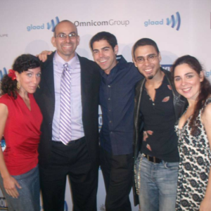 At the GLAAD Media Awards with (L to R) Artist Natalie Pecora, Playwrights Troy Diana and James Valletti, and RENT star/Tony Award Winner Wilson Jermaine Heredia.