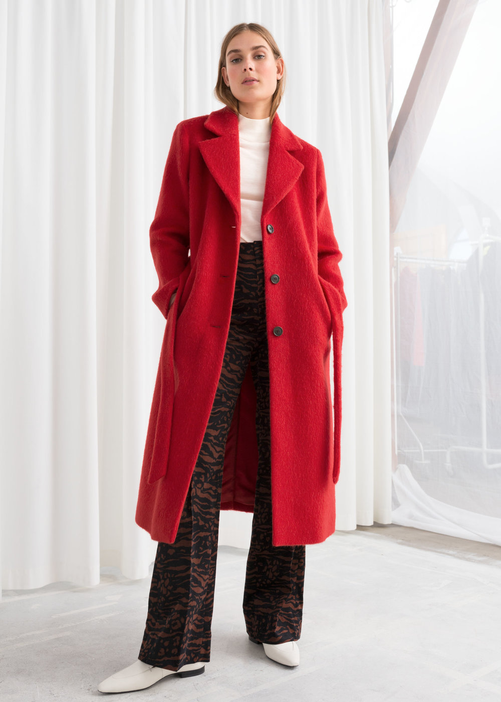 Red oversized coat from And Other Stories