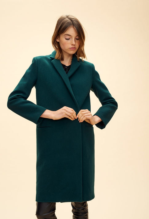 Bottle-green colored coat from Claudie Pierlot