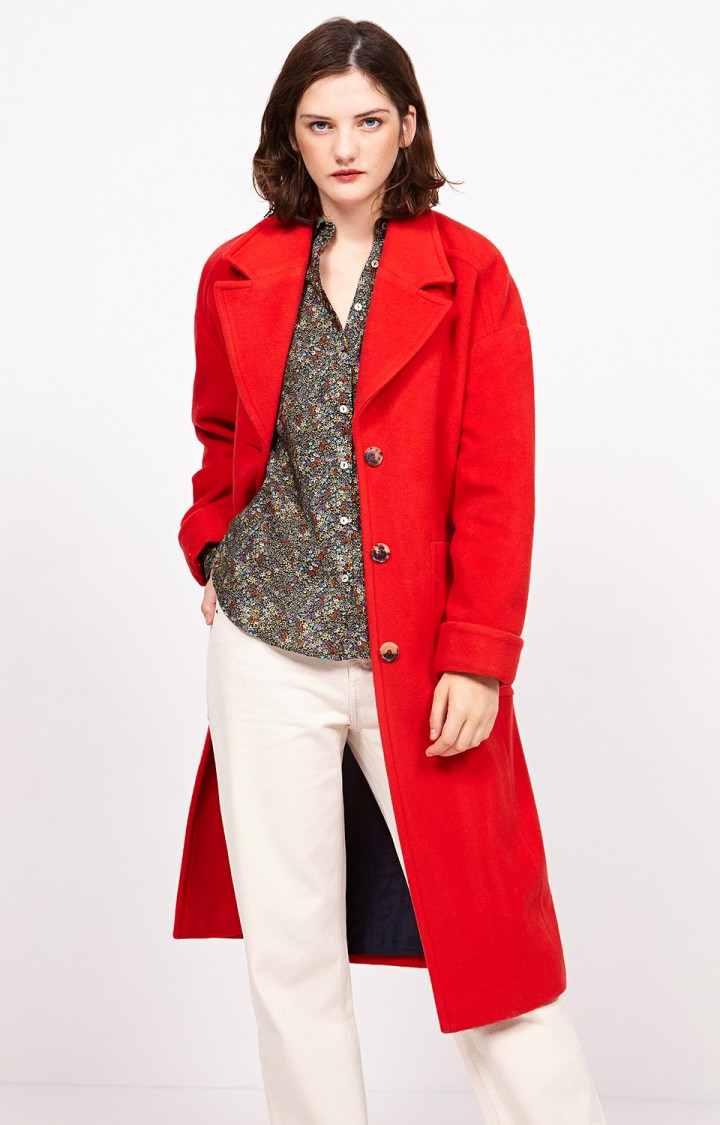 Chili pepper colored long coat from American Vintage