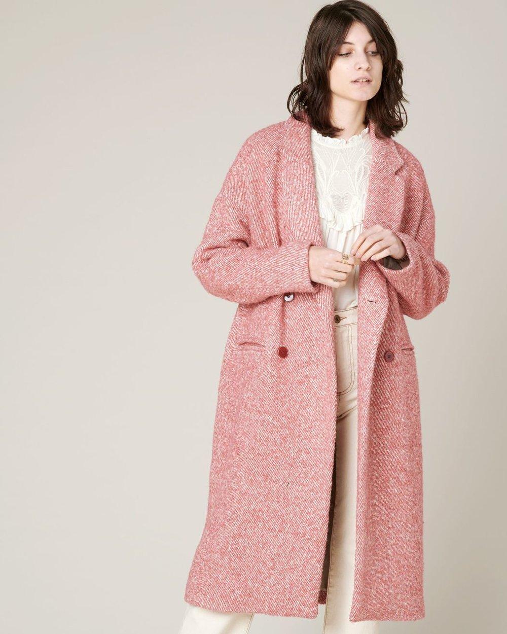 Pink jacquard coat from Sessùn