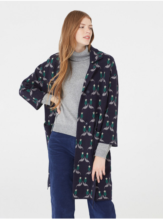 Manteau en tricot bleu marine Nice Things